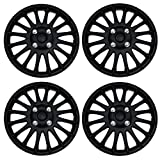 Tuningpros WC3-16-611-B - Pack of 4 Hubcaps - 16-Inches Style Snap-On (Pop-On) Type Matte Black Wheel Covers Hub-caps