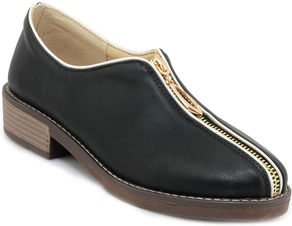 MIOKE Women's Classic Oxford Shoes Toe Round Soldering Low Comfort San Diego Mall Zipper