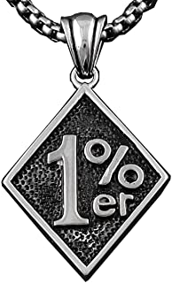 Men's One Percent 1% ER Motorcycle Biker Stainless Steel Necklace Chain L-11