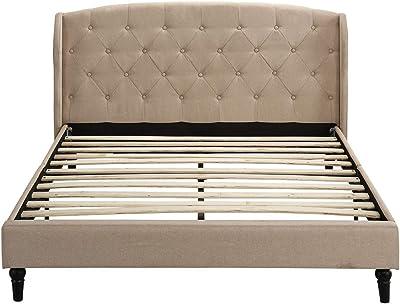 Divano Roma Furniture Classic Dark Beige Box-Tufted Shelter Bed Frame (Full)