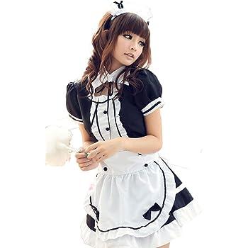 【ps.j】メイド服 コスプレ コスチューム セクシー 可愛い かわいい ゴスロリ ワンピース (S, ブラック)
