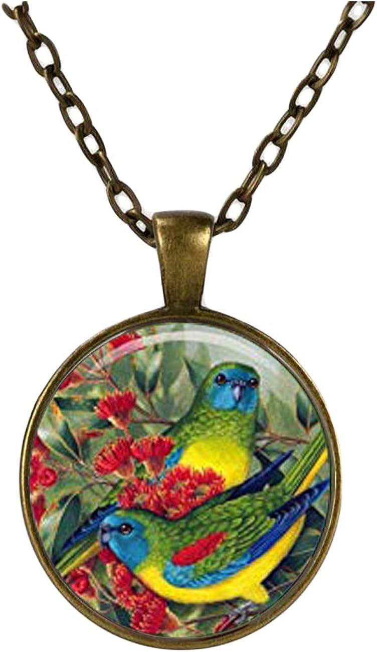 Birds Vintage Pendant Parrot NECKLACE, Animals Jewelery, Charm Pendant