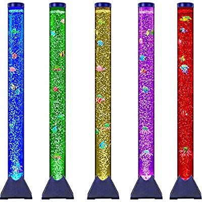 Sensory LED Bubble Tube with 10 Fish, 20 Color Remote and Tall Water Tower Tank LED Night Light for Kids Bedroom, Living Room Decor