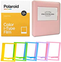 Polaroid Color Film for I-Type (8 Exposures) + Pink Album - Holds 32 Photos + Plastic Frames - Assorted Colors