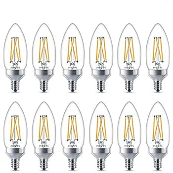 Philips 435156 40 Watt Equivalent Dimmable LED B13 Candelabra Base Decorative Candle Light Bulb Soft White 8-Pack