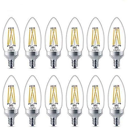 Philips LED Flicker-Free Dimmable B11 Light Bulb, Classic Glass, 300 Lumen, Soft White Light (2700K), 3.3W=40W, E12 Base, Title 20 Certified, 12-Pack