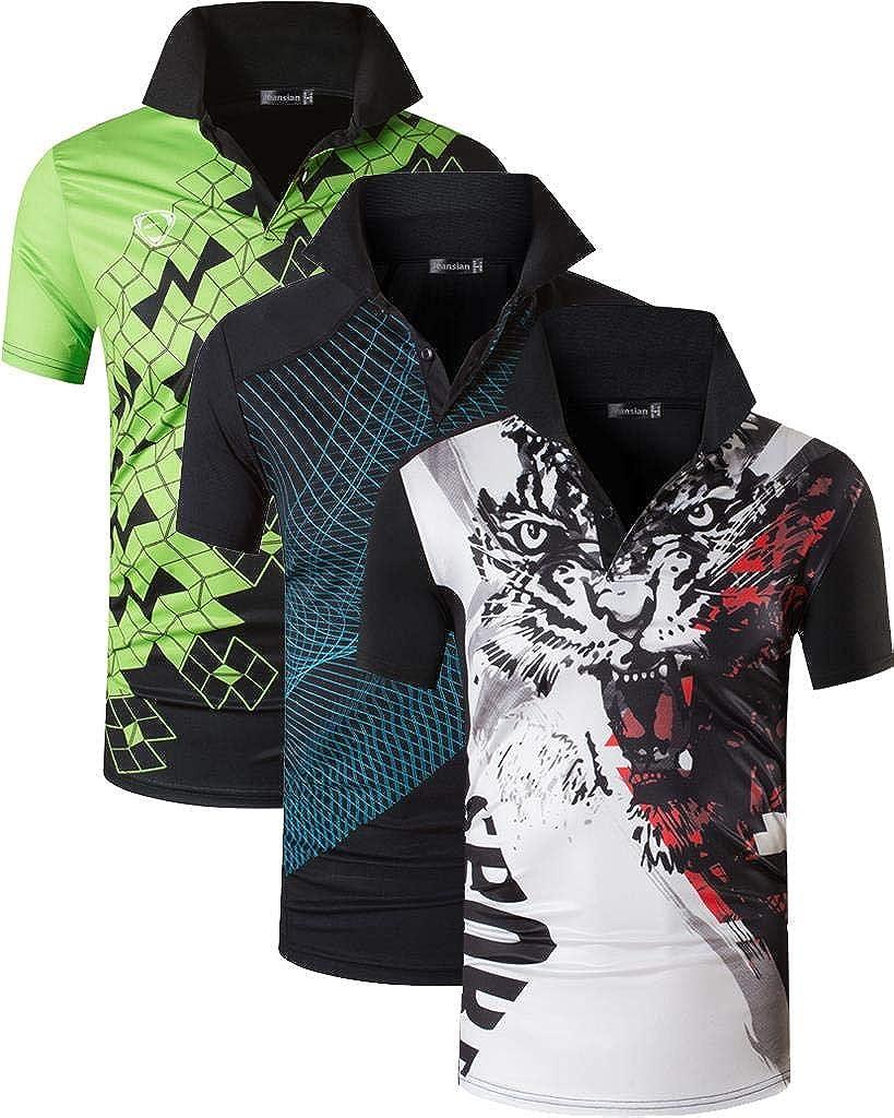 jeansian 3 Packs Camiseta Poloshirt Deportivo Hombre Manga Corta Ajuste Seco Golf Tenis Bolos Polo Tshirt T-Shirt LSL195 Pack