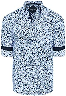 Tarocash Men's Woolf Floral Print Shirt Regular Fit Long Sleeve Sizes XS-5XL for Going Out Smart Occasionwear