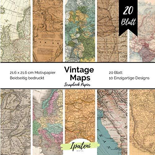Scrapbook Papier Vintage Maps: Bastelpapier Beidseitig Bedruckt Vintage Weltkarten Papier zum basteln 20 Blatt 21.6 x 21.6 cm Bastelpapier für vielfältige Bastelarbeiten