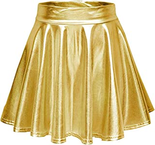 Women's Metallic Wet Liquid Faux Leather Flared Skater Mini Skirt High Waisted Pleated Mini Skirts