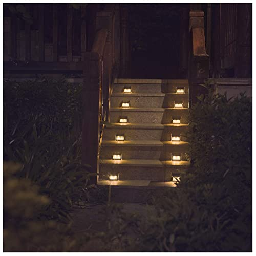 stair lighting amazon com warm light solar lights for steps decks pathway yard stairs fences led lamp