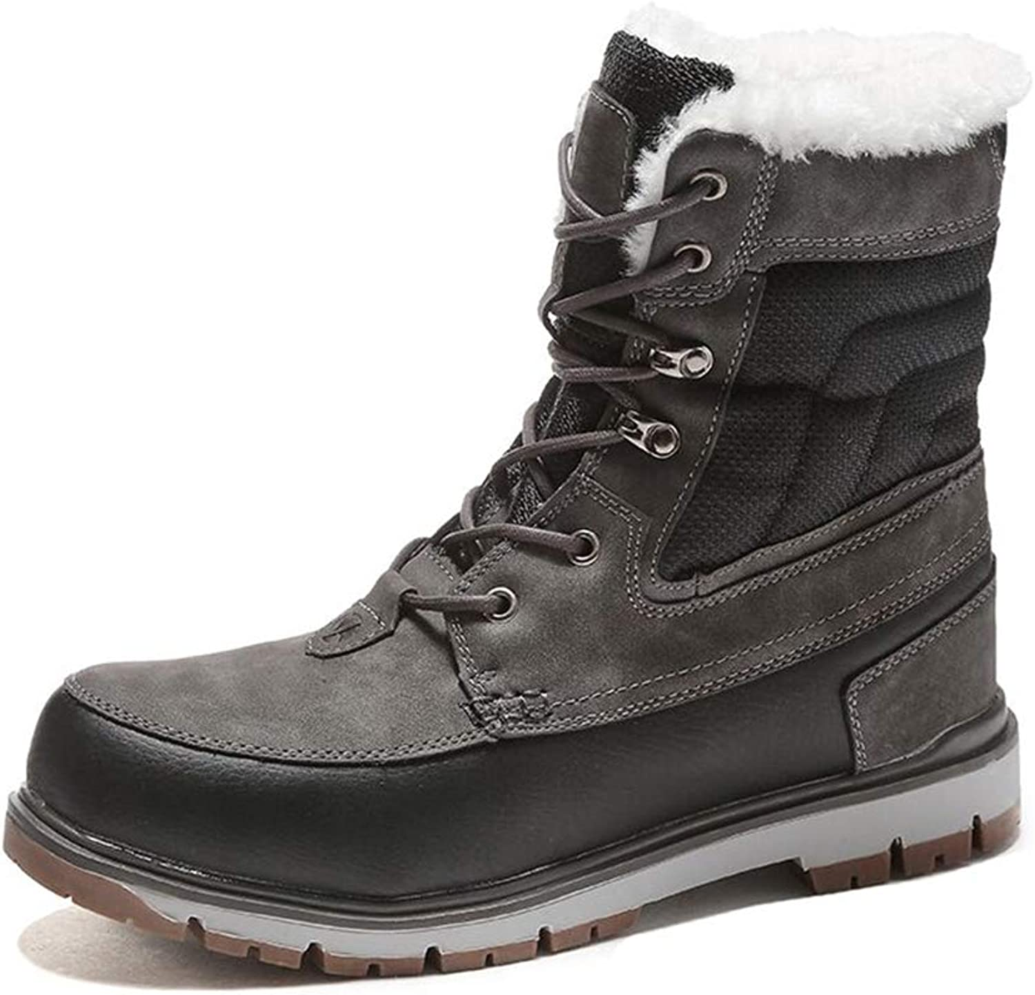 JITIAN Mens Winter Snow Boots Mid-Calf Boots with Plush Fur Waterproof Casual Motorcycle Boots Lace-up Warm Martin Boots in Black Brown
