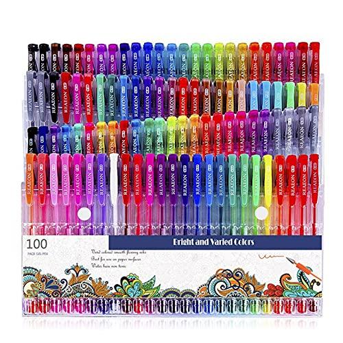 ETSK 100 marcadores de colores bolígrafos de gel de neón con purpurina metálica en colores pastel