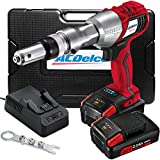 ACDelco Cordless Li-ion 20V MAX BRUSHLESS Rivet Gun Tool Kit with Charger, 2 Batteries, and Nose Pieces – 3,375 lb. Max Setting Force P20 Series ARV20104B
