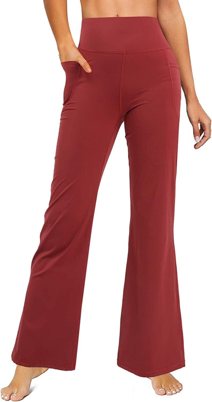 LEINIDINA Bootcut Yoga Pants for Women Flared Leggings with Pocket Bootleg Casual Lounge Pants Work Pants Sweatpants