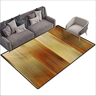 Girl Bedroom Rug Earth Tones Abstract Modern Design with Ombre Inspired Smooth Color Transitions Non-Slip Door mat pad Machine can be Washed W70 xL110 Ginger Pale Yellow