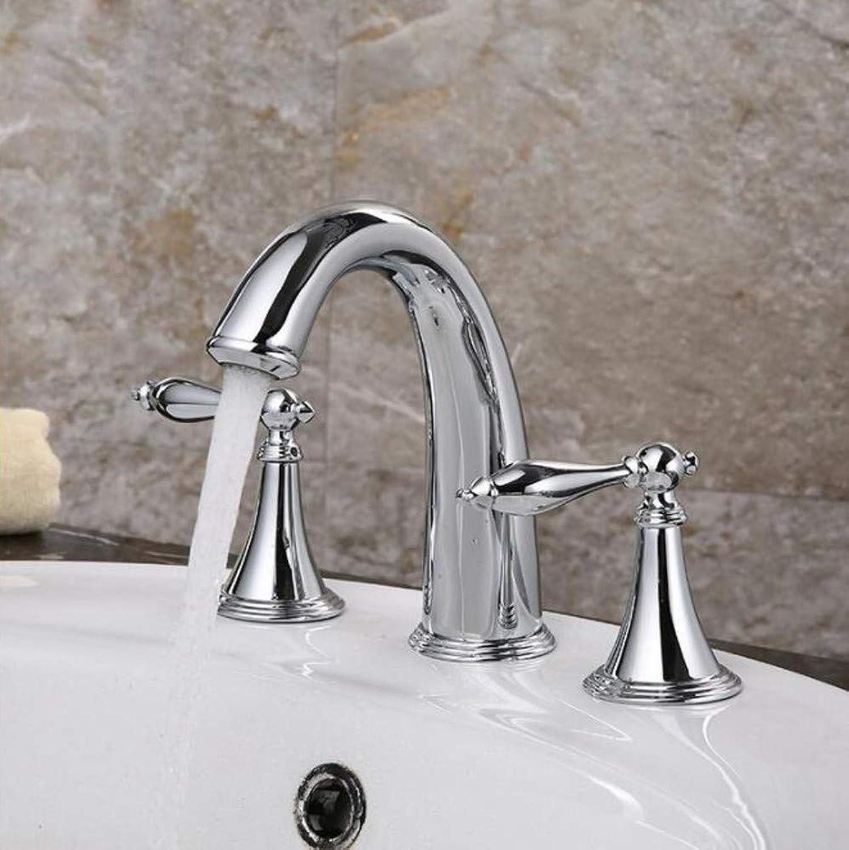 Floungey BadinsGrößetionen Waschtischarmaturen Küchenarmaturen Chrom Poliert Deck Montiert Wasserfall 3 Stücke Becken Wasserhahn Dual Griffe Bad Becken Mischbatterien