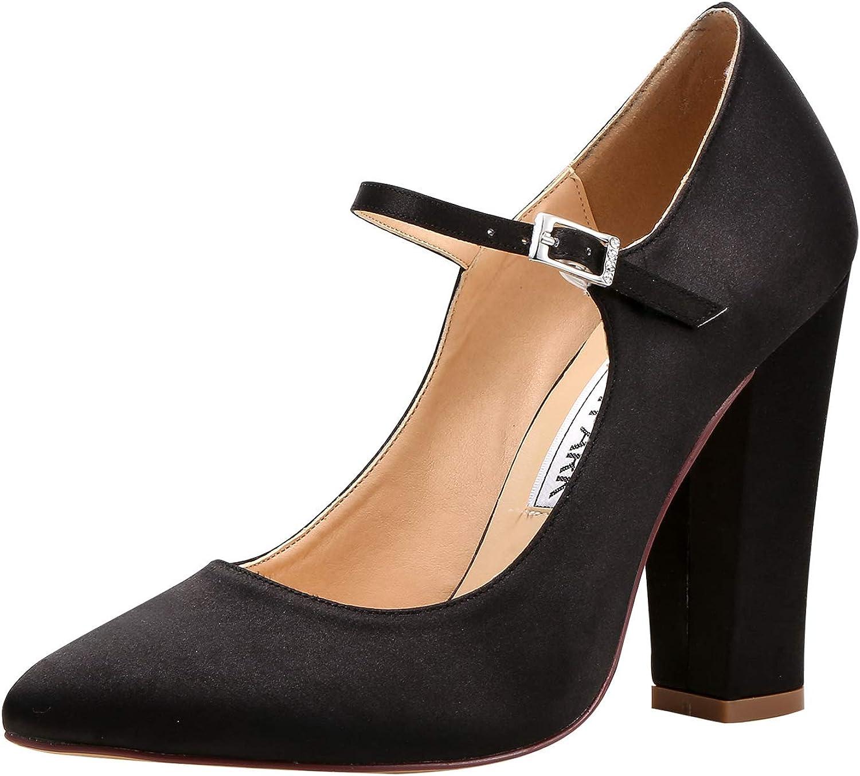 Elegantpark Women Pointed Toe Block High Heel Pumps Mary Jane Satin Wedding Bridal Evening Party Dress shoes