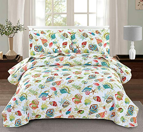 3-Piece Beach Themed Quilted Bedspread Coverlet with Shams,Vivid Seascape Image Including Colorful Sea Shell Conch Coral Starfish Thin Lightweight Breathable Quilt Set Bedding Set (Yellow,Twin)