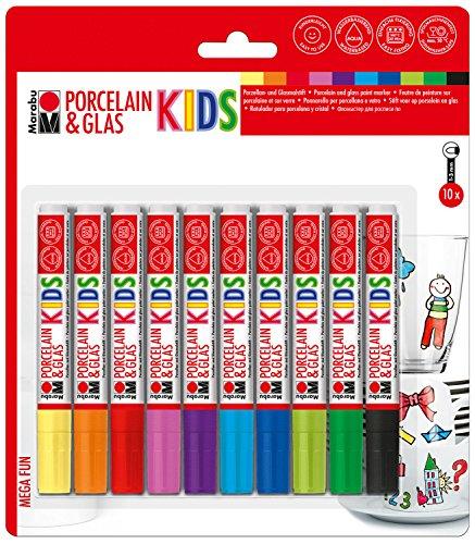 Marabu 0125000000084 - Porcelain & Glas Painter Kids, Set Mega Fun mit 10 Farben, Porzellan- und Glasmalstift für Kinder, kinderleichtes Malen, spülmaschinenfest nach Einbrennen, Spitze 1 - 3 mm