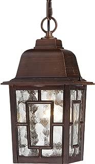 Nuvo Lighting 60/4932 Banyon One Light Hanging Lantern 100 Watt A19 Max. Clear Water Glass Rustic Bronze Outdoor Fixture