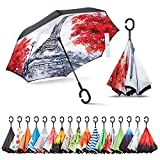 Sharpty Inverted, Windproof, Reverse Umbrella for Women with UV Protection, Upside Down with C-Shaped Handle (Eiffel Tower)
