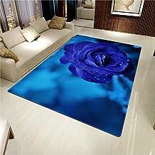 LHGBGBLN 3D Printing Carpet Blue Rose Water Drops Bedroom Living Room Anti-Slip Mat Corridor Floor Mat Door Mat Flower Car...
