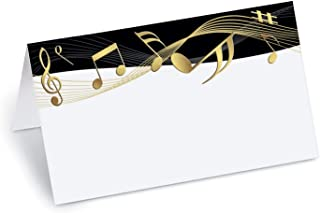 PaperDirect Golden Tunes Music Notes Folded Place Cards, 100 Count