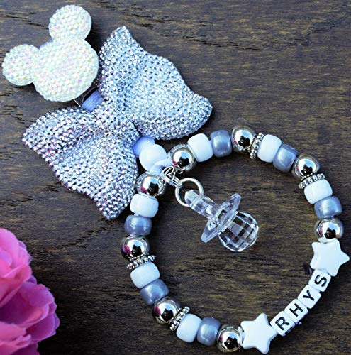 Personalised pram charm in Grey silver white for baby boys Girls