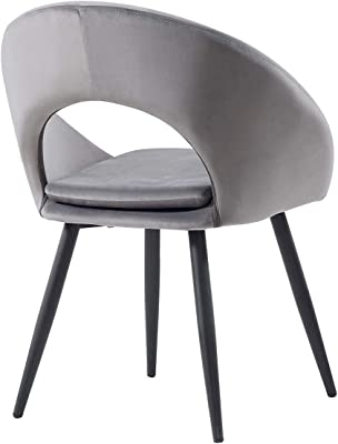 Velvet Dining Chair Corner Single Chair with Metal Legs, Lounge Leisure Chair for Living Room Bedroom (Grey Black)