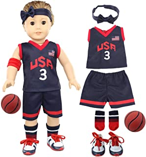 Dreamgirl World Collections 7 Pcs 18-Inch Doll-Clothes-Accessories Basketball Set - Including Top, Shorts, Basketball, Soc...