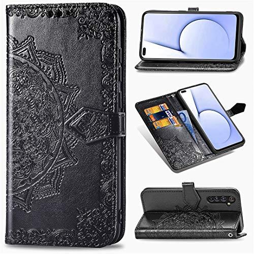 Realme X50 Pro Hülle, SATURCASE Mandala PU Lederhülle Magnetverschluss Brieftasche Kartenfächer Standfunktion Handschlaufe Handy Tasche Schutzhülle Handyhülle Hülle für Realme X50 Pro (Schwarz)