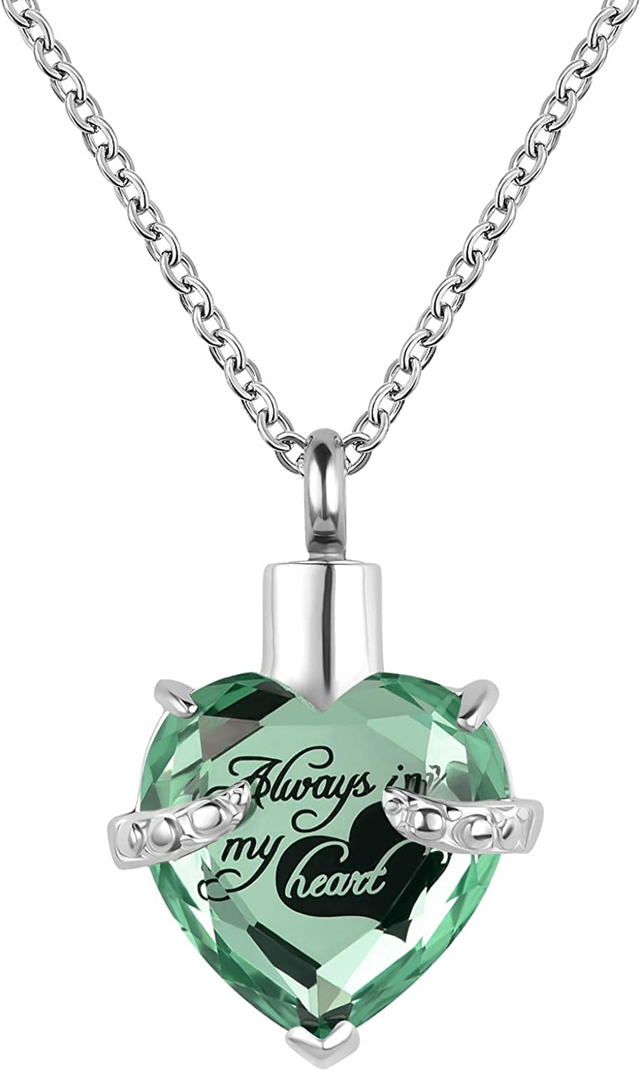YSAHan 12 Birthstone Rhinestone Urn Necklace for Ashes Love Heart Cremation Memorial Pendant Stainless Steel Jewelry Always in My Heart