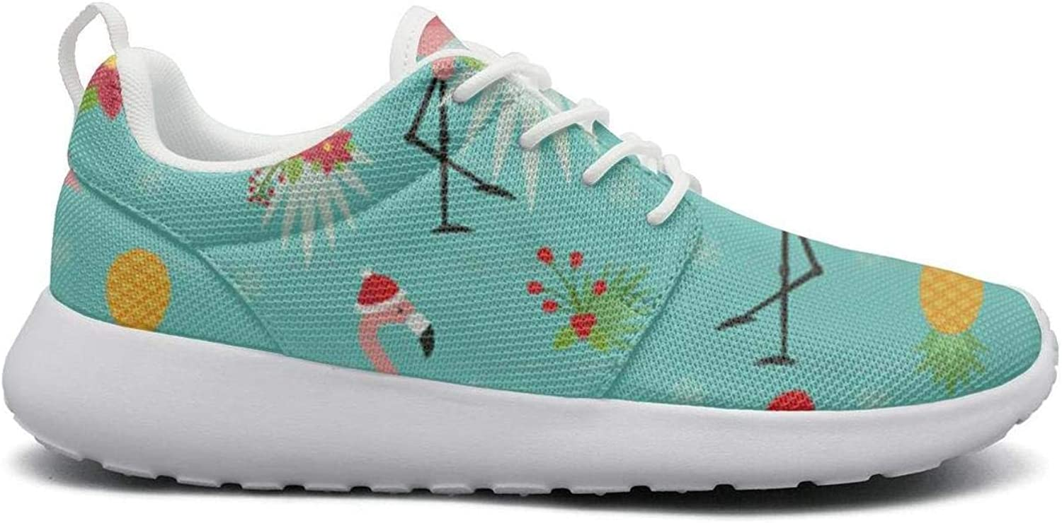FEWW11 Women Funny Lightweight shoes Sneakers Flamingos Wearing Santa Hats Funny Cozy Running Lace-Up