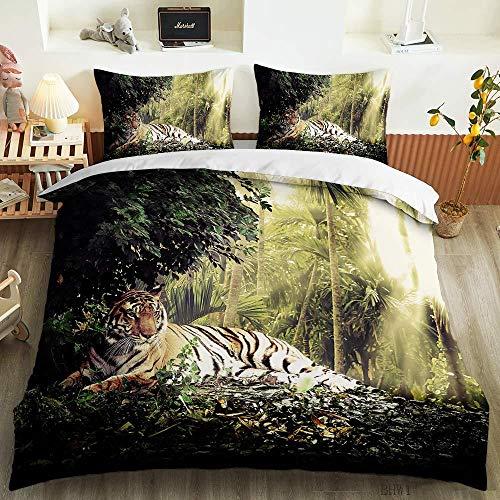 HGFHGD Bettbezug, Motiv: Waldpflanze, Tiger, 3D-Digitaldruck, für Studenten, Erwachsene, Kinder, Bettbezug, Kissenbezug