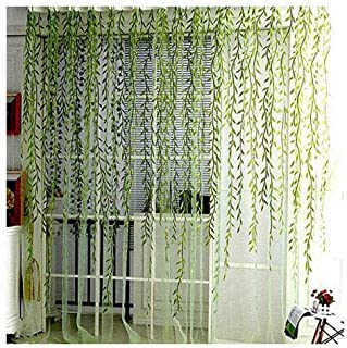 BROSHAN Voile Window Room Curtain Willow Leaves Print Sheer Voile Panel Drapes Green Window Treatments, 1 Panel, 78''L x 39