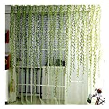 Voile Window Room Curtain Willow Leaves Print Sheer Voile Panel Drapes Green Window Treatments, 1 Panel, 78''L x 39' W, BROSHAN
