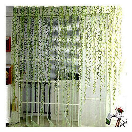 Voile Window Room Curtain Willow Leaves Print Sheer Voile Panel Drapes Green Window Treatments, 1 Panel, 78''L x 39