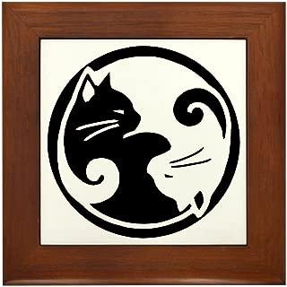 CafePress Yin Yang Cats Framed Tile, Decorative Tile Wall Hanging