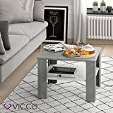 Vicco Coffee Table Homer Living Room Table Concrete White 60x60 Couch Table Side Table - 2
