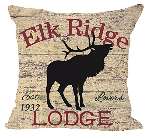 European Retro Animal Moose Creek inn and Bath Shop Elk Ridge Lodge Cotton Linen Square Throw Waist Pillow Case Decorative Cushion Cover Pillowcase Sofa 18'x 18' (Elk)