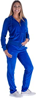 LeeHanTon Womens Jogging Suits Sets Running Velour Outfit Zipper Warm Up 2 Pieces Hoodie and Sweatpant Tracksuit