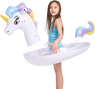 DELFINO Pool Toys For Children Inflatable Inflatable Unicorn Pool Float with Glitters, Tubes Floating Fun Beach Floaties S...