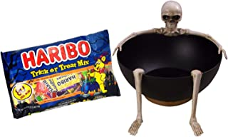 Halloween Animated Skeleton Candy Bowl Bundle with Haribo Trick or Treat Gummy Candy Mix