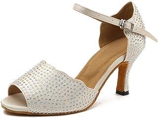 Honeystore Open-Toe Women's Rhinestones Single Strap Salsa Latin Dance Shoes