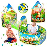 3PC Dinosaur Kids Play Tent with Ball Pit, Crawl Tunnel and Kids Tents for Toddlers, Boys & Girls Pop Up Playhouse Toys for Baby Indoor/Outdoor, Kid's Dinosaur World Gift