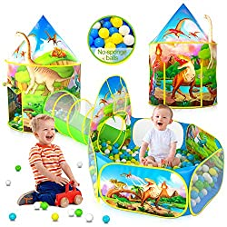 1. wilwolfer 3-Piece Dinosaur Kid's Play Tent with Ball Pit and Crawl Tunnel