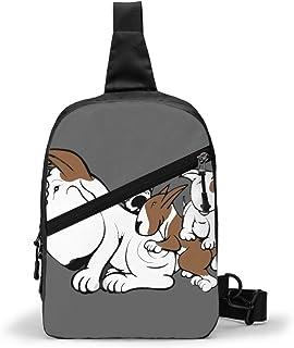Bull Terrier Cachorros con Mamá Paquete de Pecho Multiusos Crossbody Bolsa de Hombro al Aire Libre Mochila Eslinga Mochila de Gran Capacidad Deportiva Casual Mochila para Senderismo Viaje Deporte