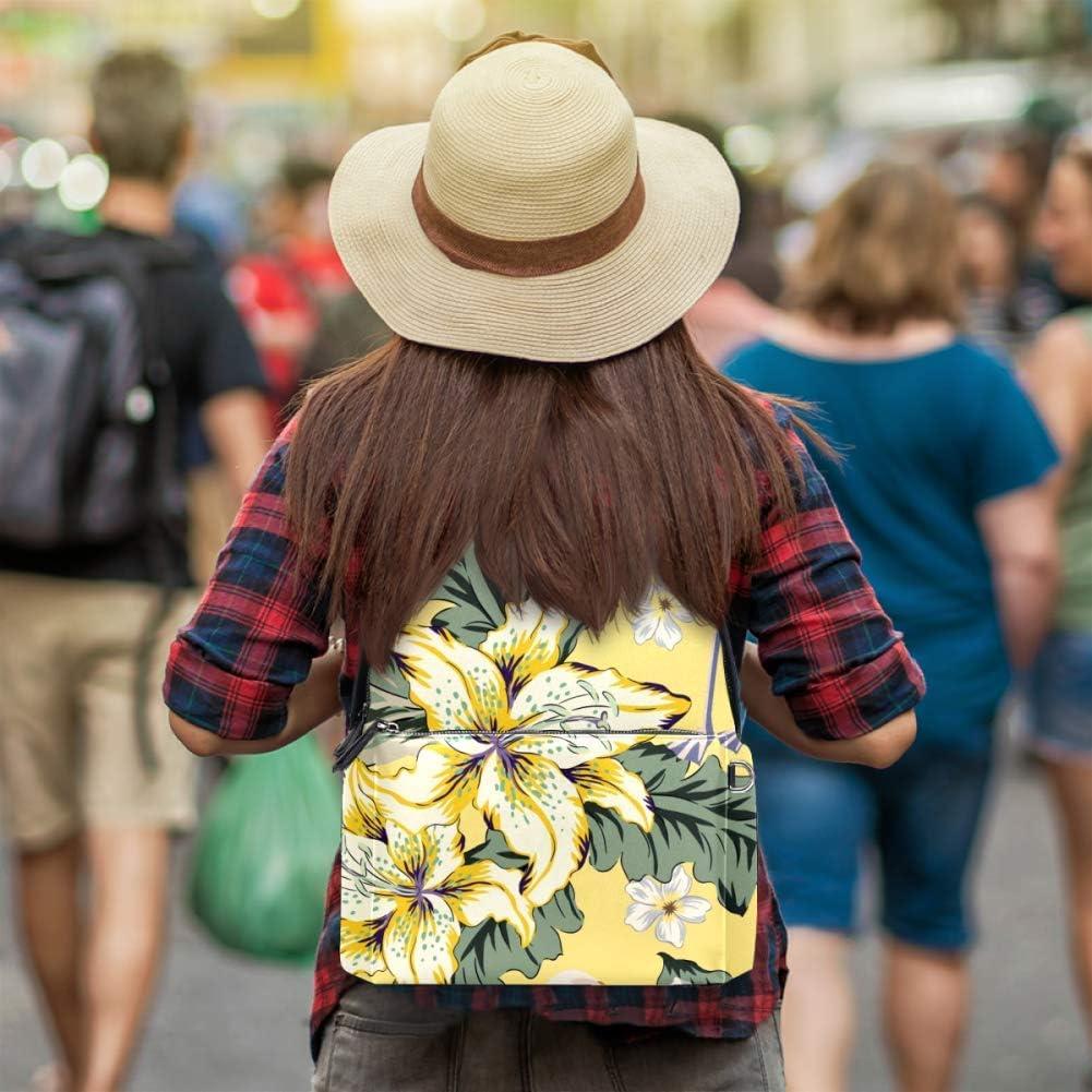 TIZORAX Sac à dos en cuir Motif flamant rose hibiscus noix de coco pour hommes, femmes, filles et garçons Motif 5 14.5x12.5x5.9in Motif 9
