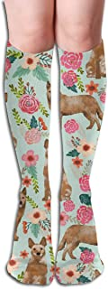 Calcetines de compresión para hombres y mujeres - Racd rh florals lite azul - Lo mejor para correr, médico, deportes, viajes de vuelo